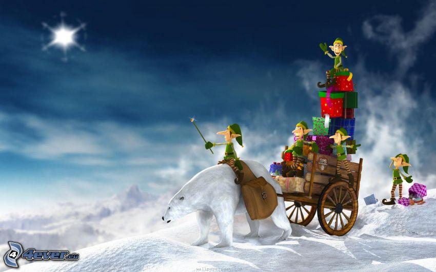 oso polar, hadas, regalos, nieve