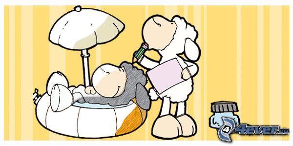 oveja, psiquiatra, dibujo, médico