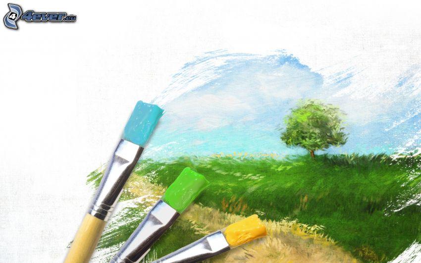 paisaje, árbol, pinceles, dibujo