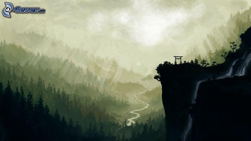 paisaje, cascada, bosque, dibujo