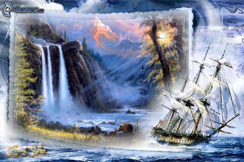 paisaje, nave, velero