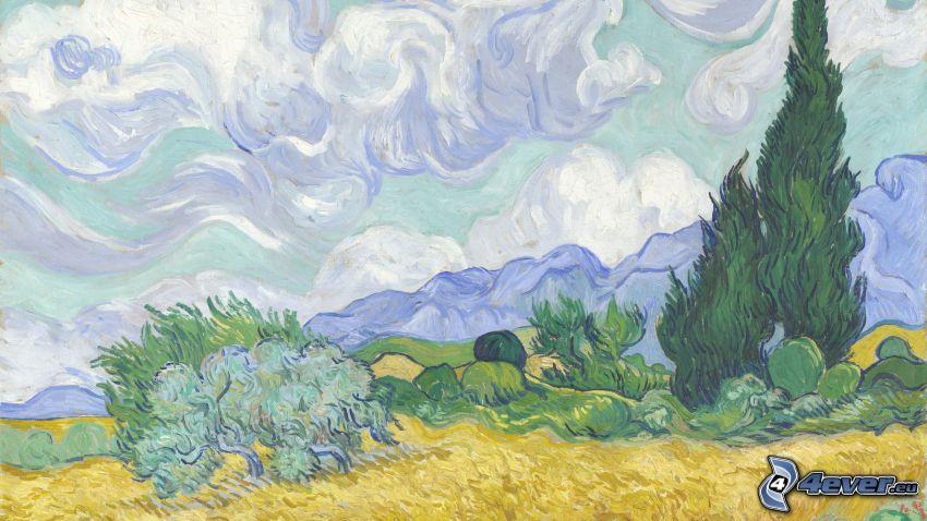 paisaje, sierra, árboles, cielo, dibujo