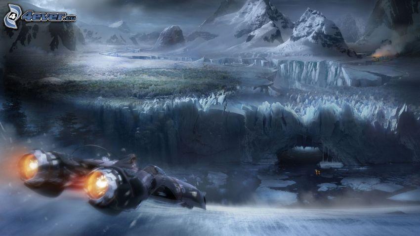 paisaje ciencia ficción, avion de caza