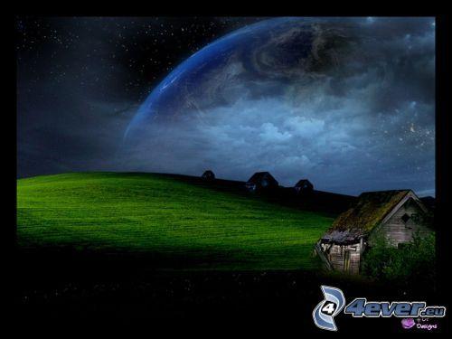 paisaje ciencia ficción, universo, choza