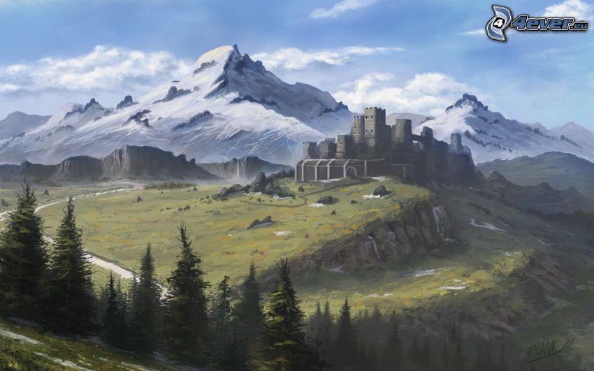 paisaje de dibujos animados, castillo, montañas nevadas, árboles coníferos