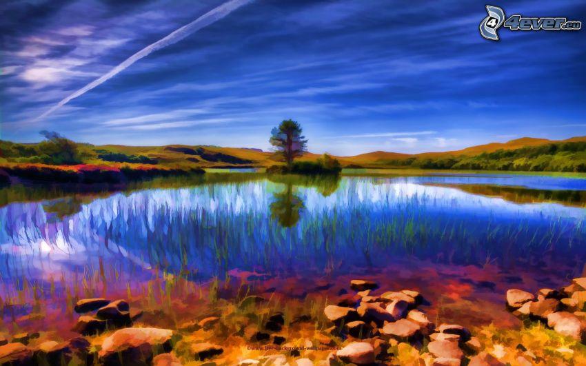paisaje de dibujos animados, lago, árbol solitario, marcas de condensación