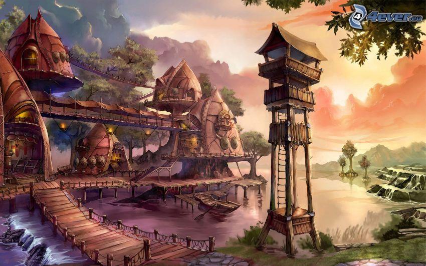 paisaje de dibujos animados, tiradero