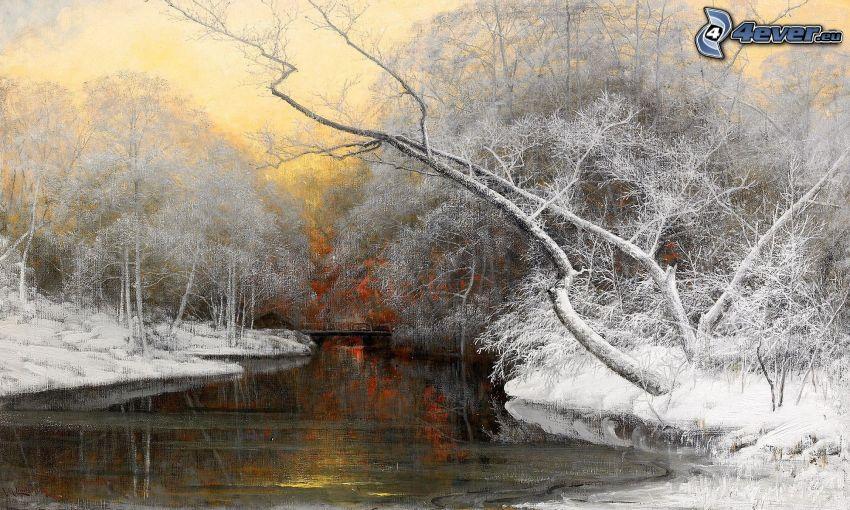 paisaje de invierno, río