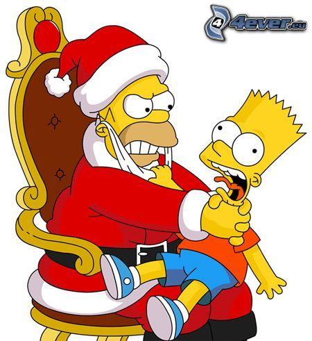 Papá Noel, Homer Simpson, Bart Simpson