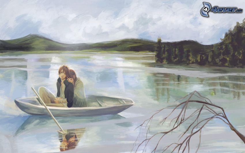 pareja, barco, río, sierra