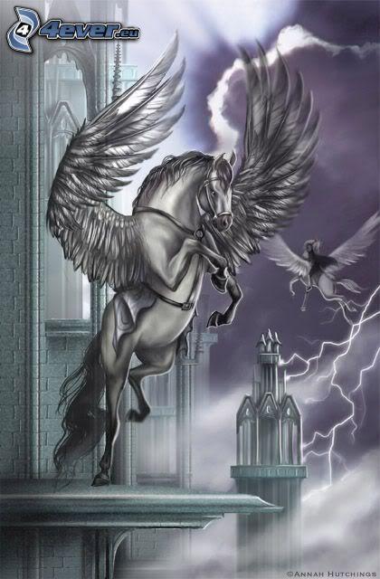 Pegaso, castillo, alas