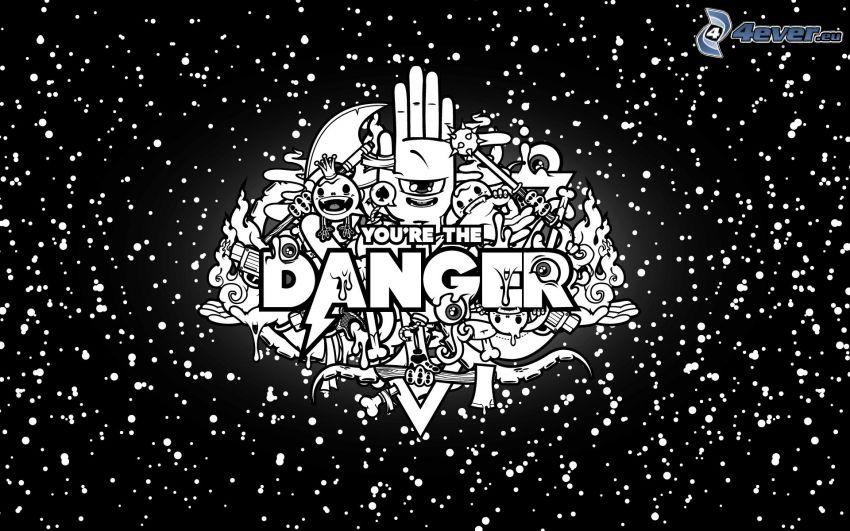 peligro, personajes de dibujos animados, blanco y negro
