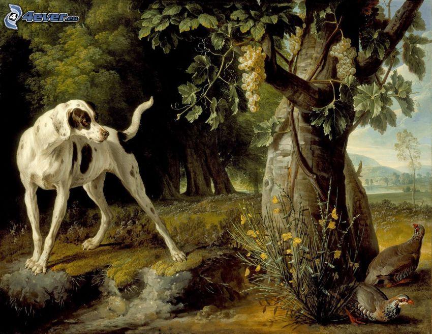 perro pintado a mano, árbol, uvas, aves