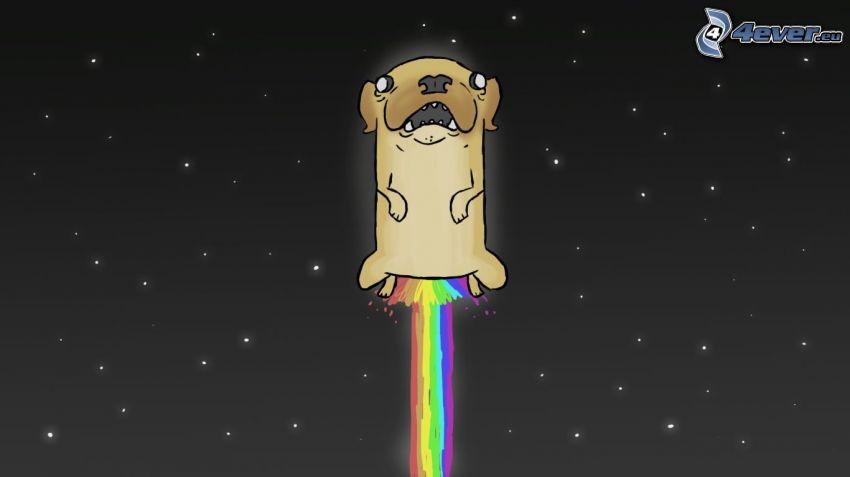 perro pintado a mano, cielo estrellado