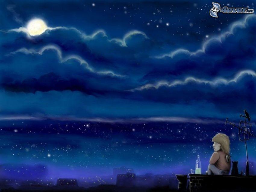Personaje de dibujos animados, noche