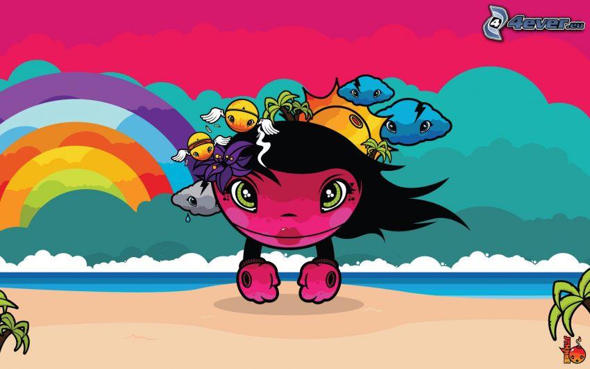 personajes de dibujos animados, arco iris, playa, mar