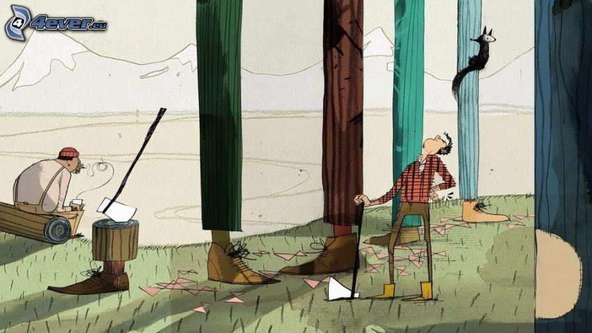 personajes de dibujos animados, pies