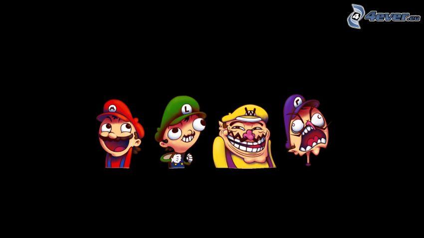 personajes de dibujos animados, Super Mario, troll face