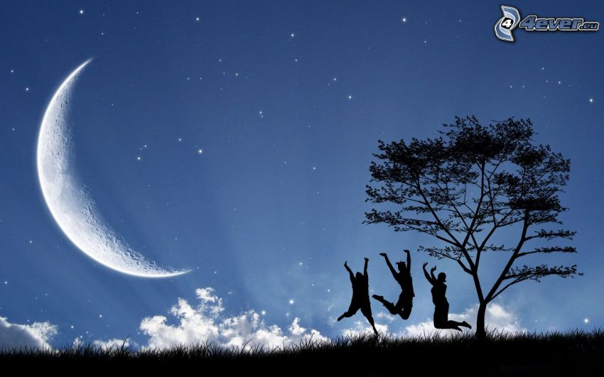 personas, salto, mes, silueta de un árbol