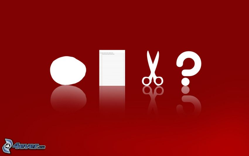 piedra, papel, tijeras, signo de interrogación