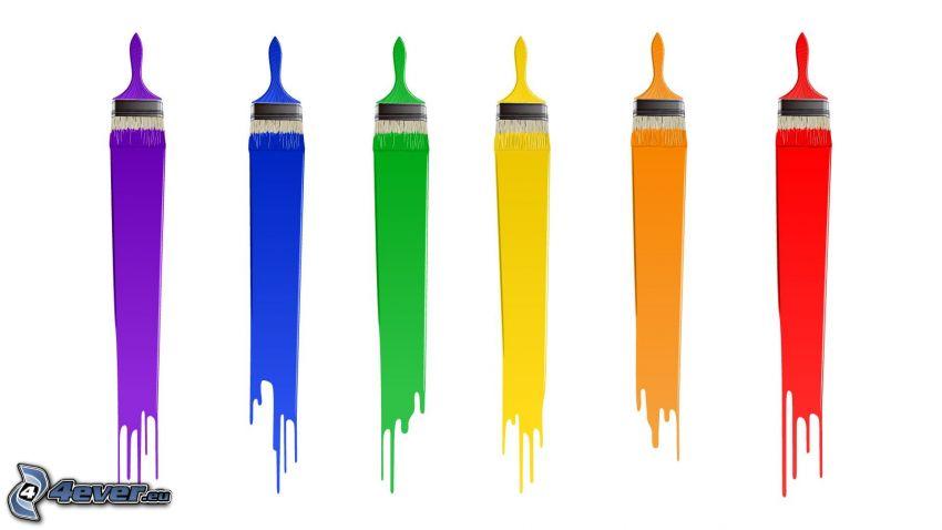 pinceles, colores del arco iris