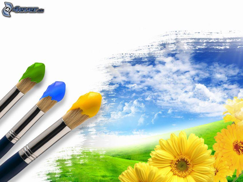 pintura, pinceles, flores amarillas