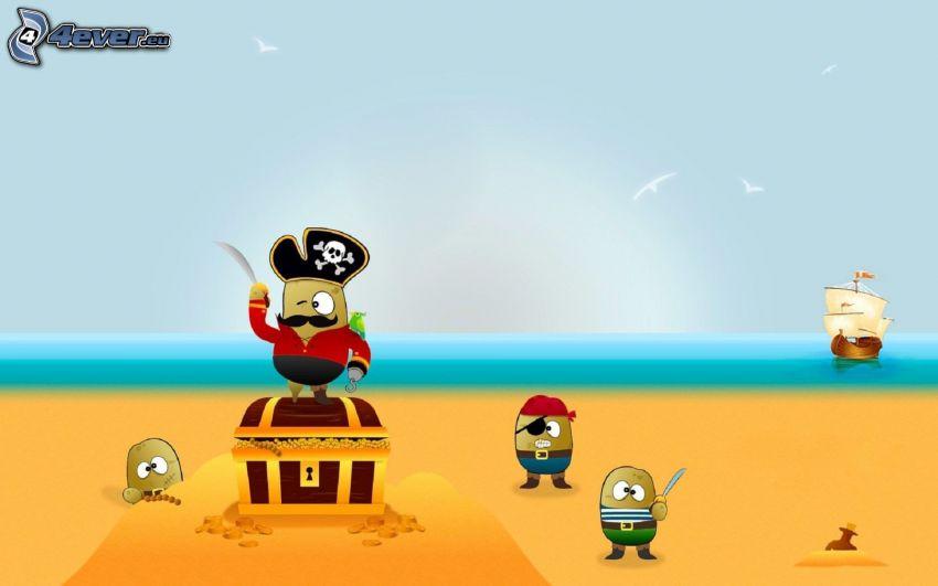Piratas, personajes de dibujos animados, playa de arena, velero, mar