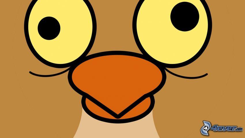 pollo, cara, ojos grandes