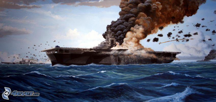 portaaviones, mar, disparo