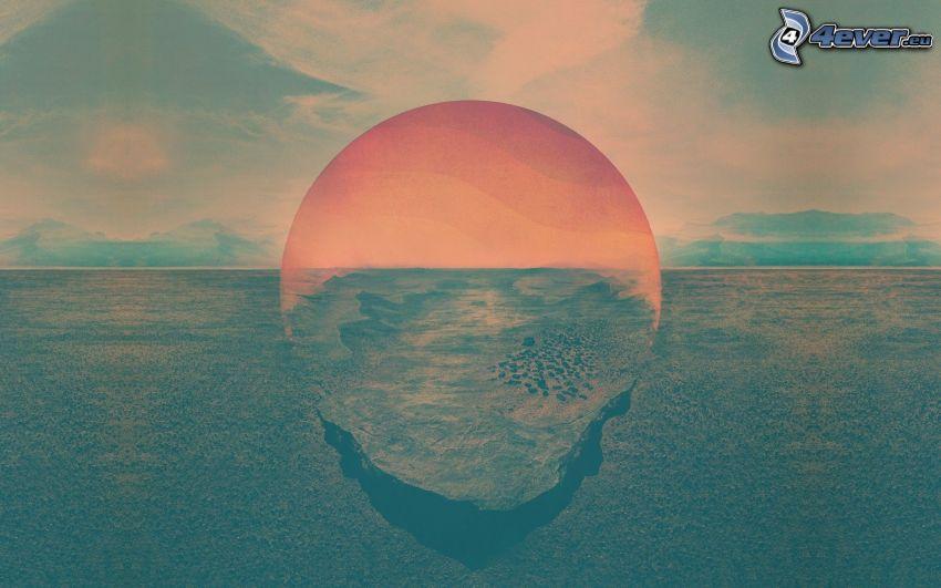 puesta de sol en el mar, cielo