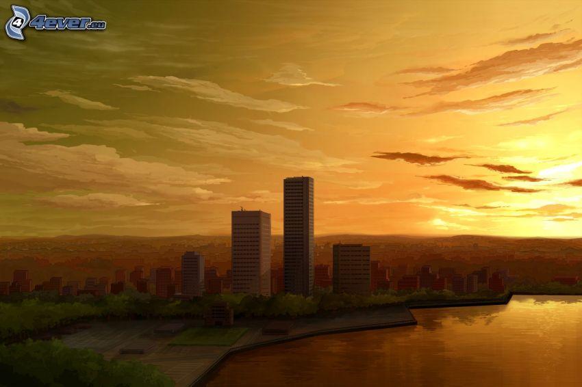 puesta de sol sobre la ciudad, rascacielos, cielo anaranjado