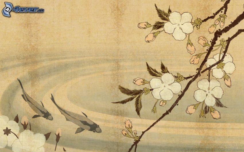 rama en flor, flores blancas, peces