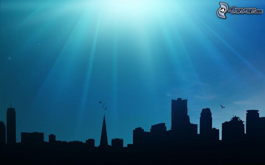 rascacielos, siluetas, sol