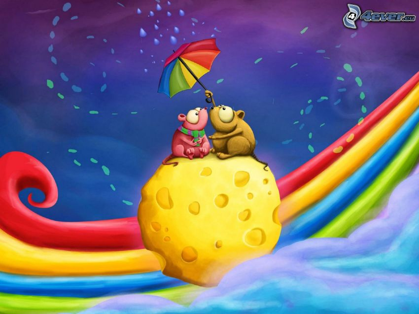 ratones, queso, paraguas, gotas de lluvia, arco iris
