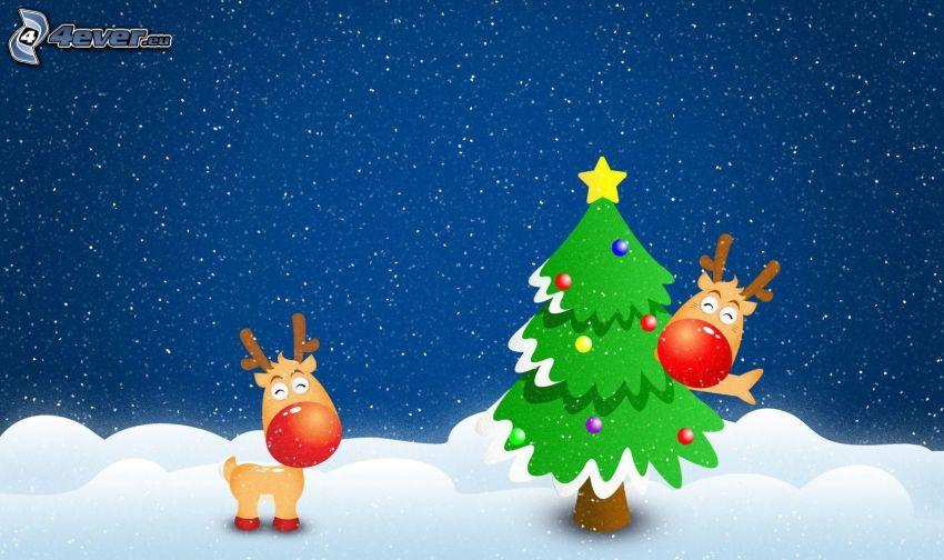 renos, árbol de Navidad, nieve