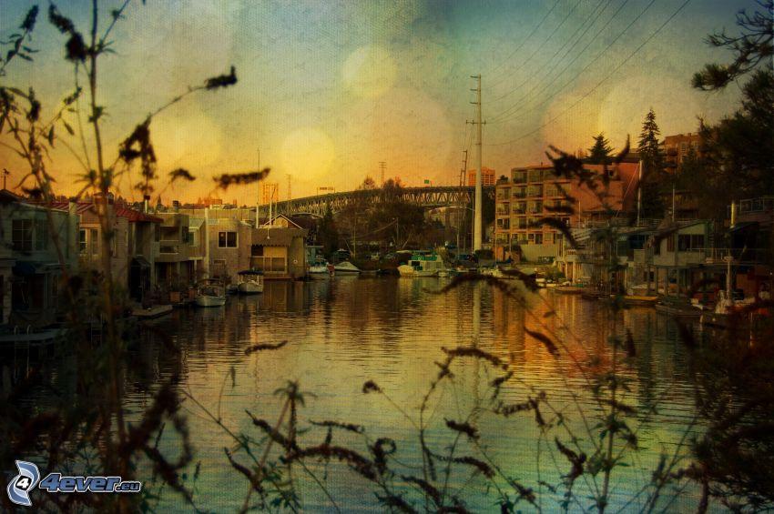 río, ciudad, alambrado