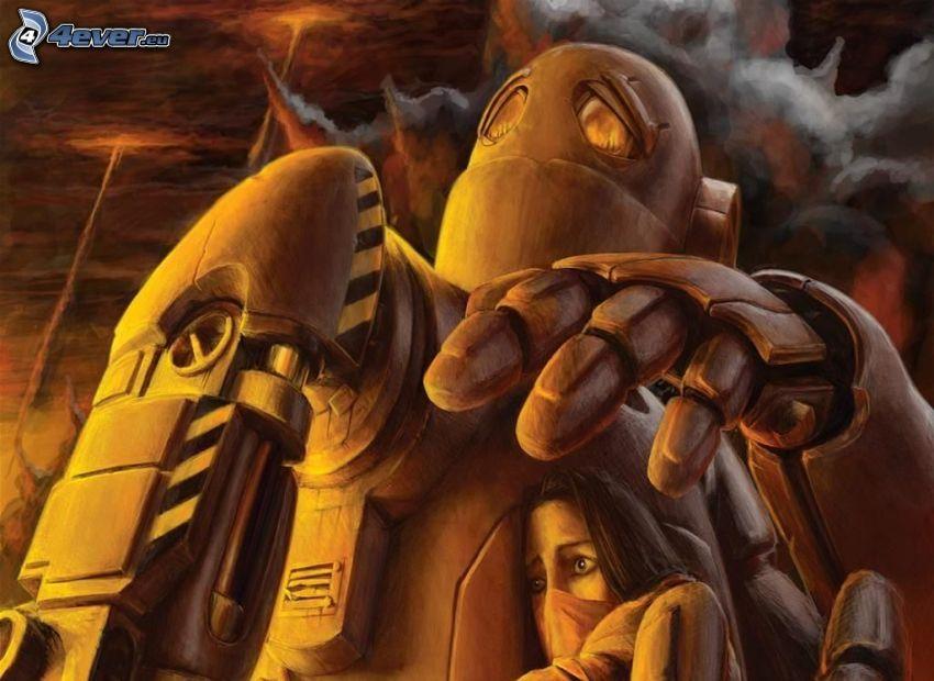 robot, caricatura de mujer, miedo