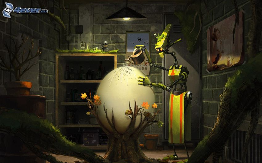robot, huevo, regadera