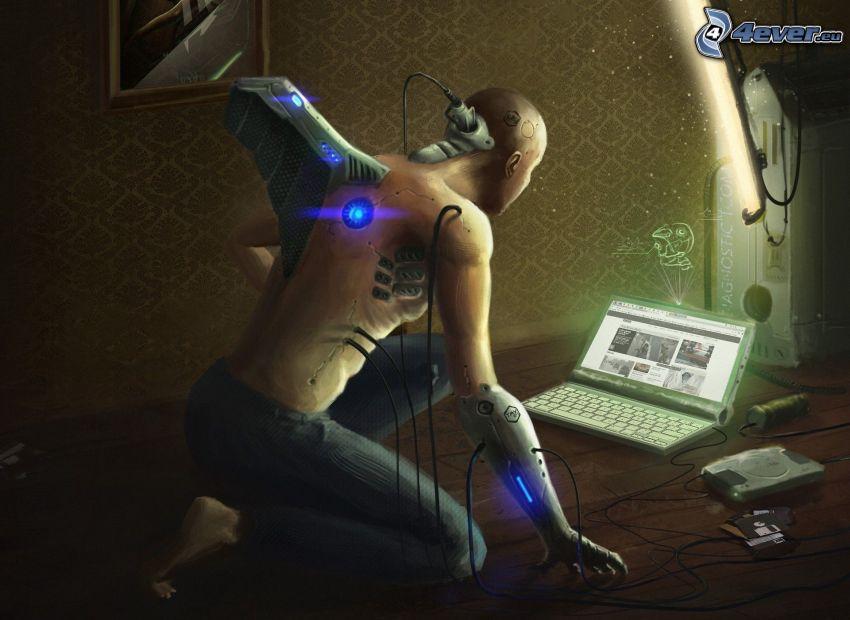robot, notebook