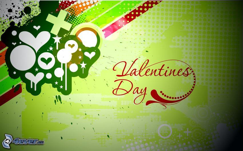 San Valentín, fondo verde