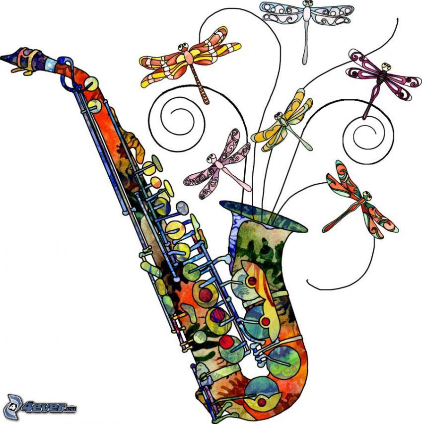 saxofón, libélula, colores