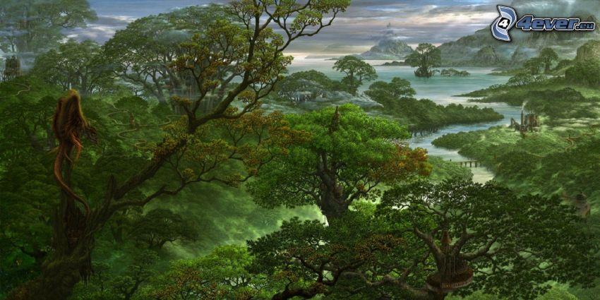 selva, verde, mar