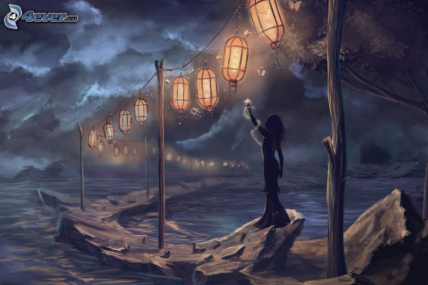 silueta de mujer, farolillos, rocas, mar, nubes oscuras