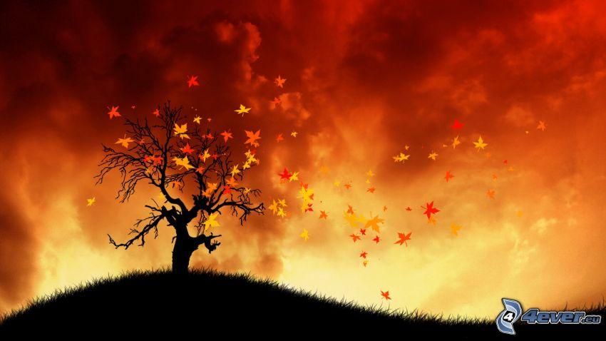 silueta de un árbol, hojas amarillas, cielo rojo