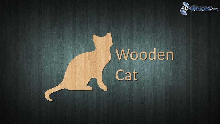 silueta de un gato, madera