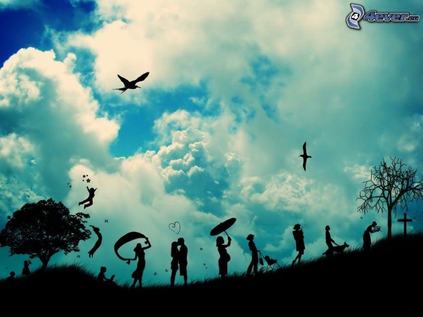 siluetas de personas, siluetas de los árboles, nubes