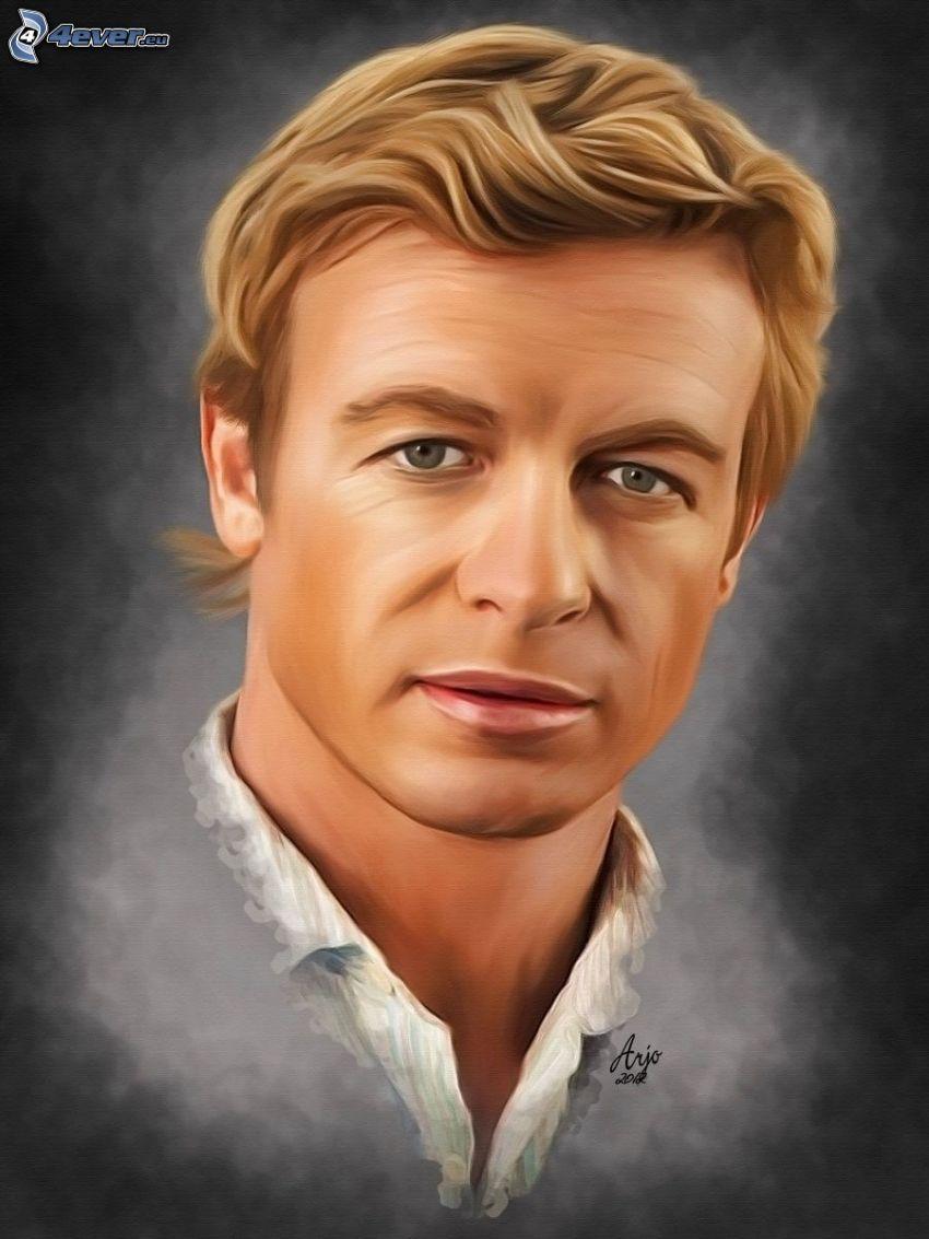 Simon Baker, caricatura de cara