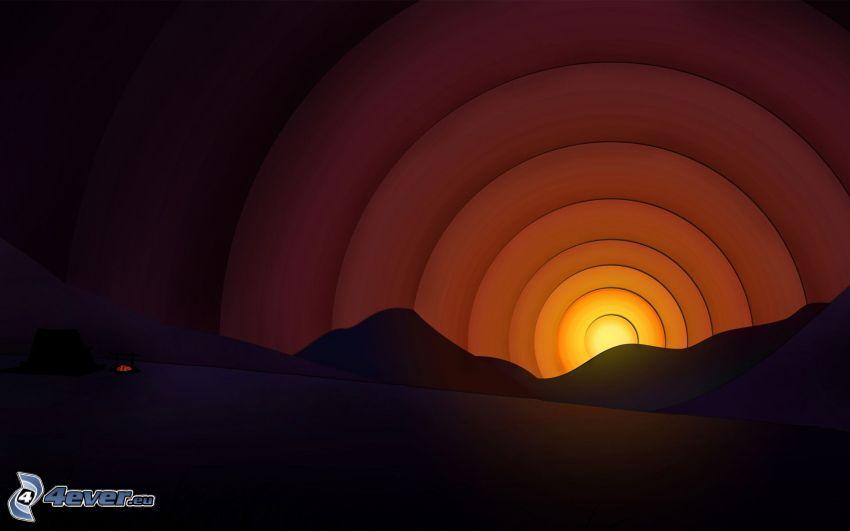 sol de la historieta, horizonte, puesta del sol, círculos