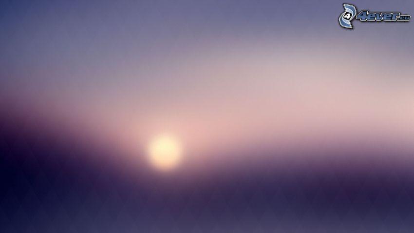 sol débil, cielo púrpura