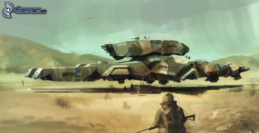 soldado, globo dirigible